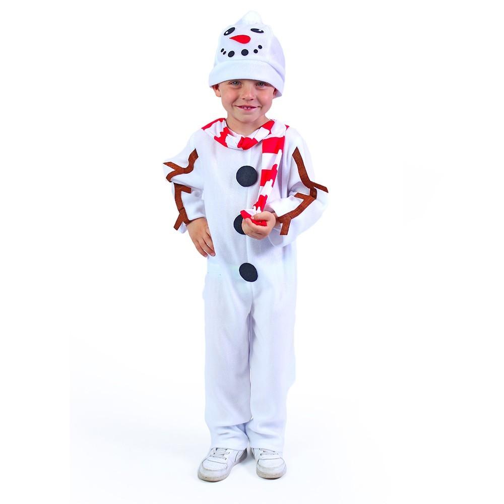 Detský kostým Snehuliak s čiapkou a červenou šálou